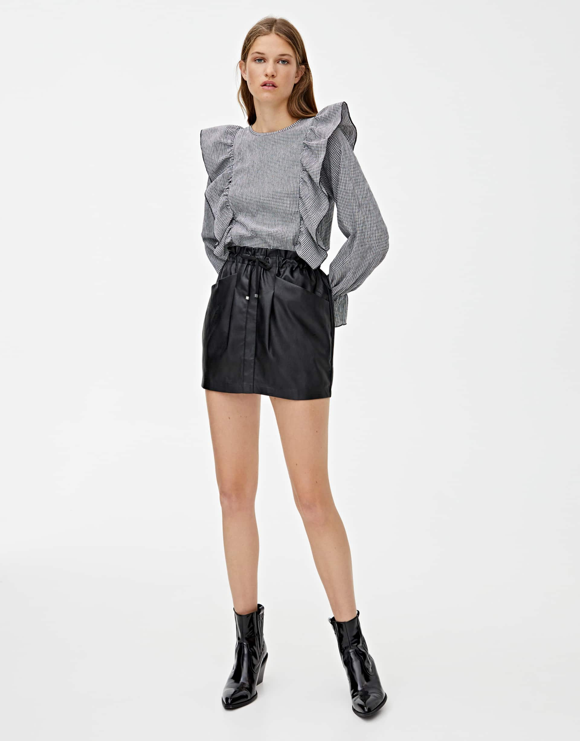 timeless design exceptional range of styles and colors new concept Faux leather drawstring mini skirt