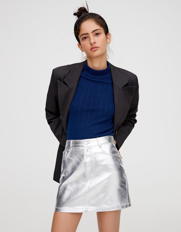 Мини юбка серебристого цвета by Pull & Bear
