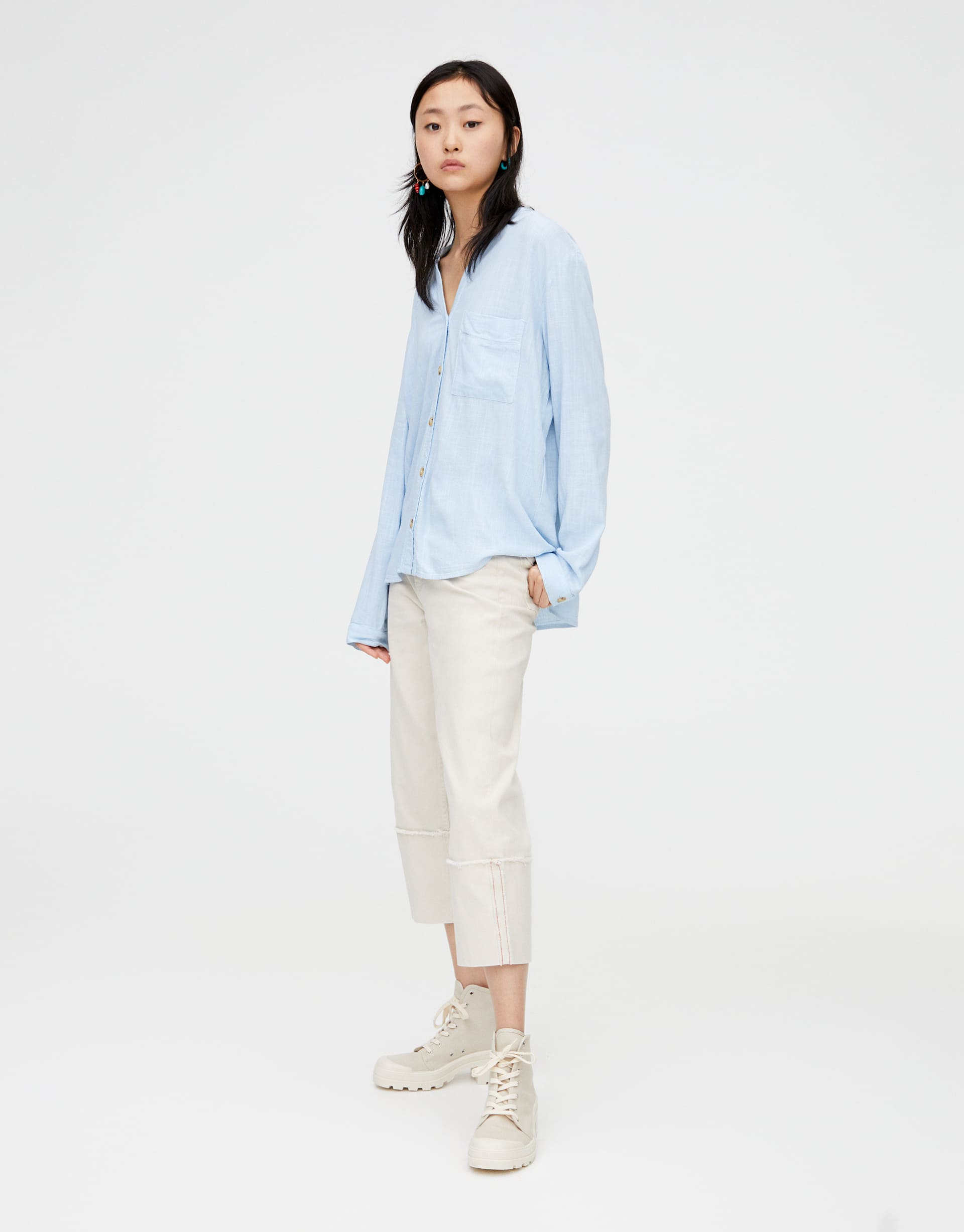 edbe67d42a Rustic shirt with stand-up collar