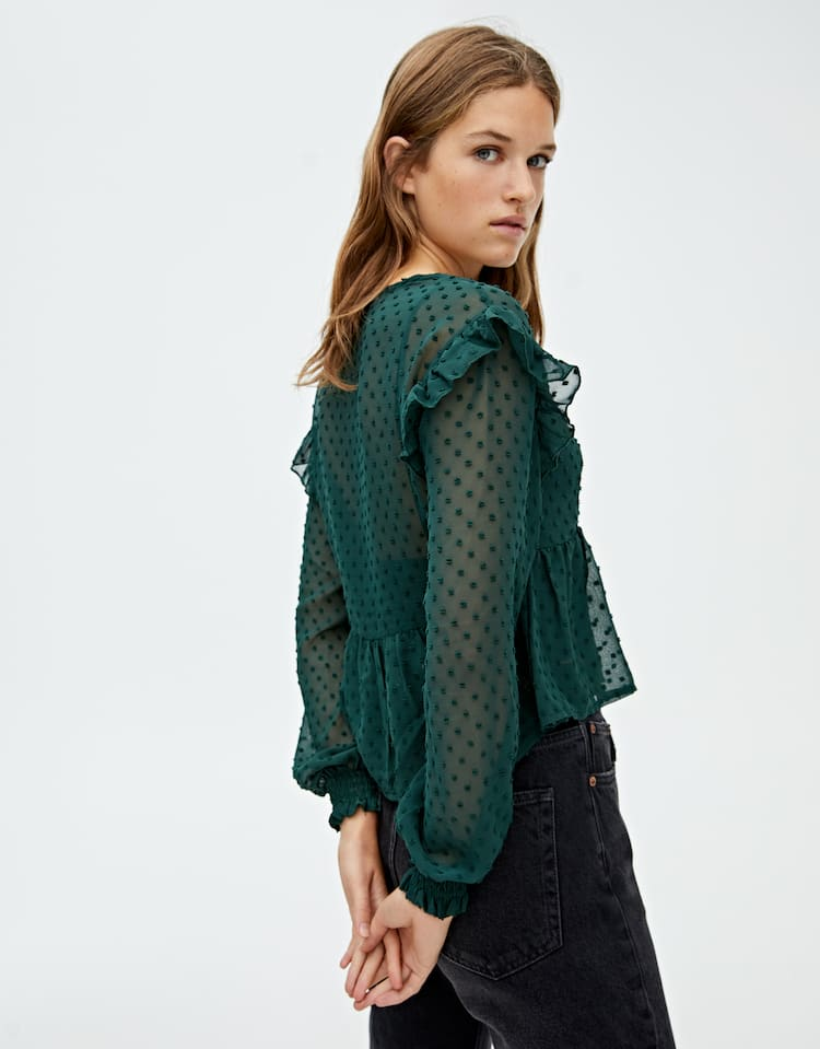Dotted Mesh Blouse With Ruffles by Pull & Bear