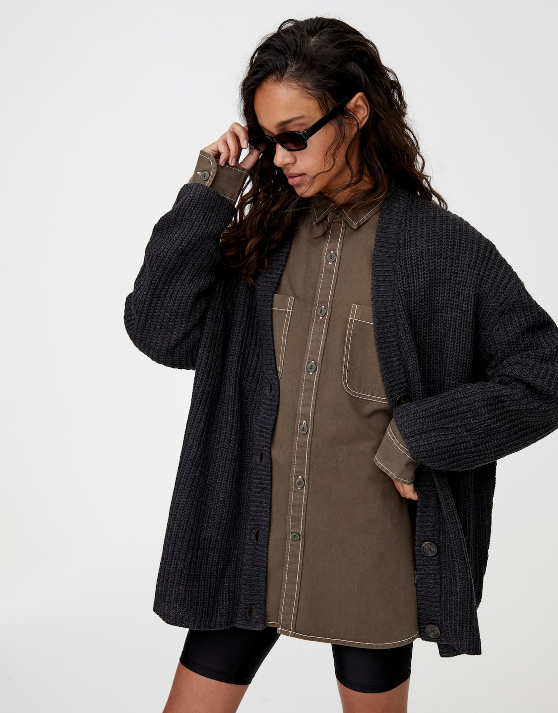 Basic Knit Button Up Cardigan by Pull & Bear