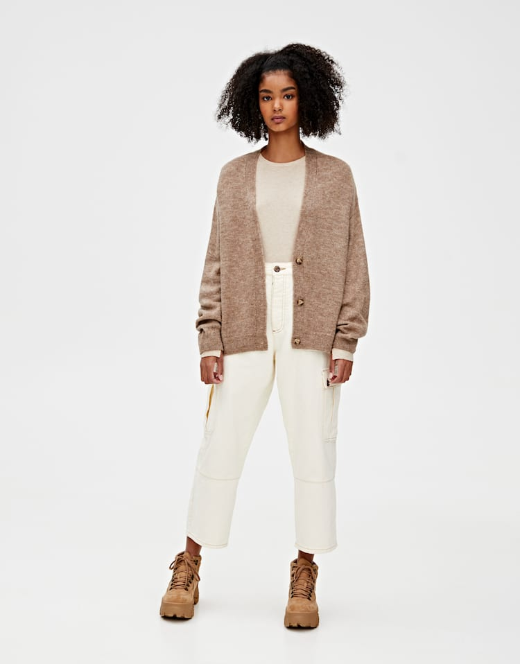 Ribbed Cardigan With Buttons by Pull & Bear
