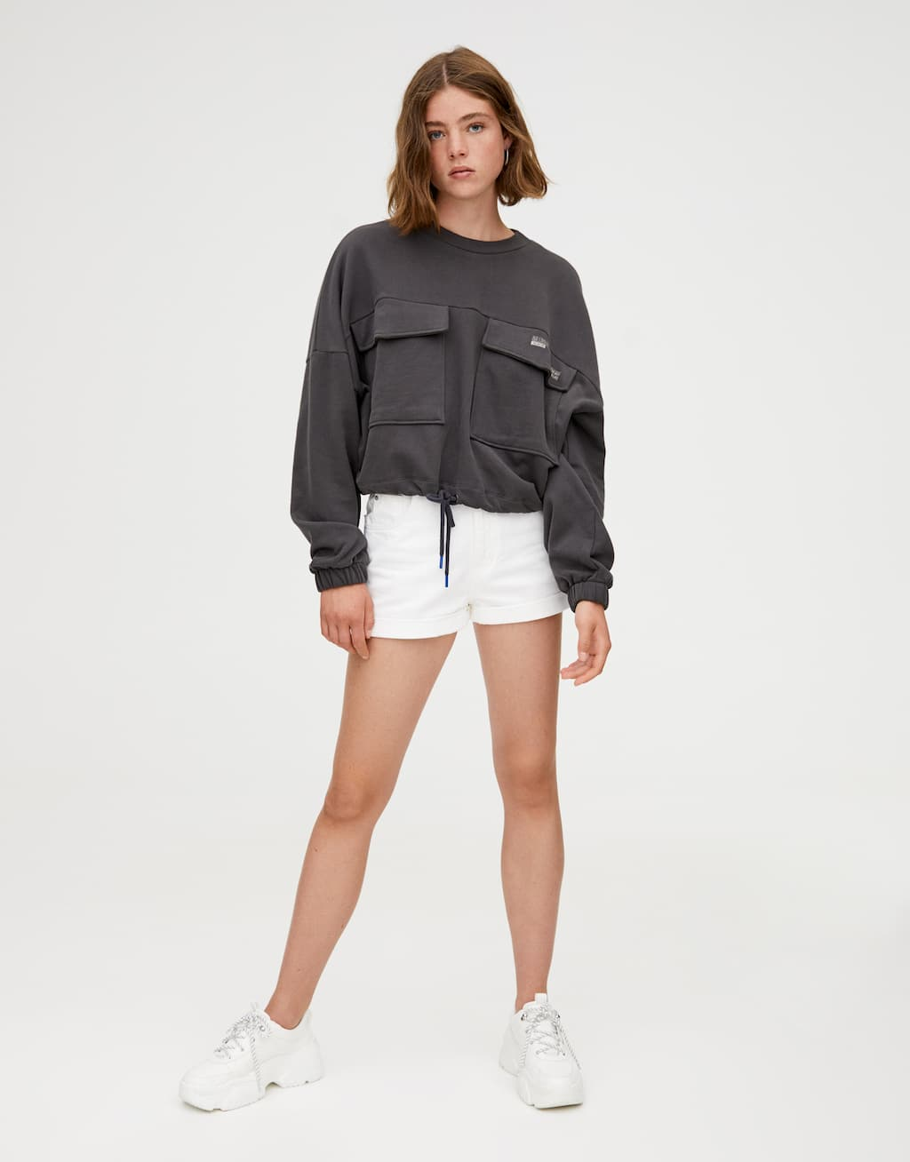 Sweatshirt With Printed Chest Pockets by Pull & Bear