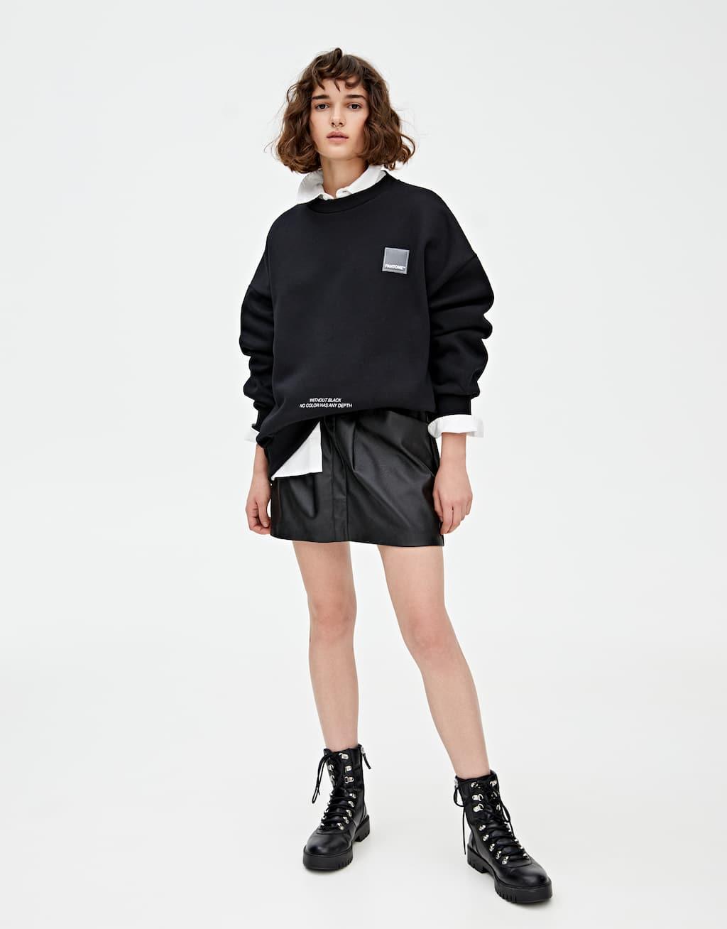 Basic Black Pantone Sweatshirt by Pull & Bear