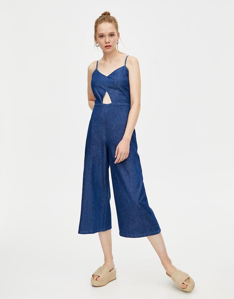 1b5504054d Tuta lunga di jeans con nodo , AZZURRO OSCURO