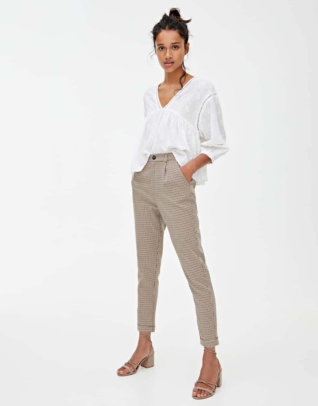 Brown Checked Tailored Trousers by Pull & Bear