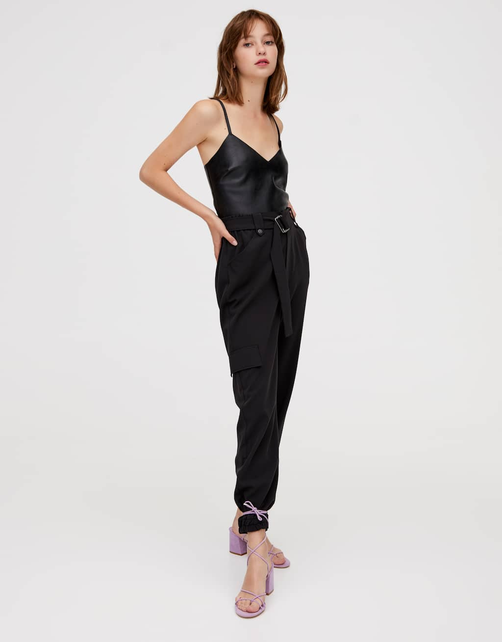black-cargo-trousers-with-belt by pull-&-bear