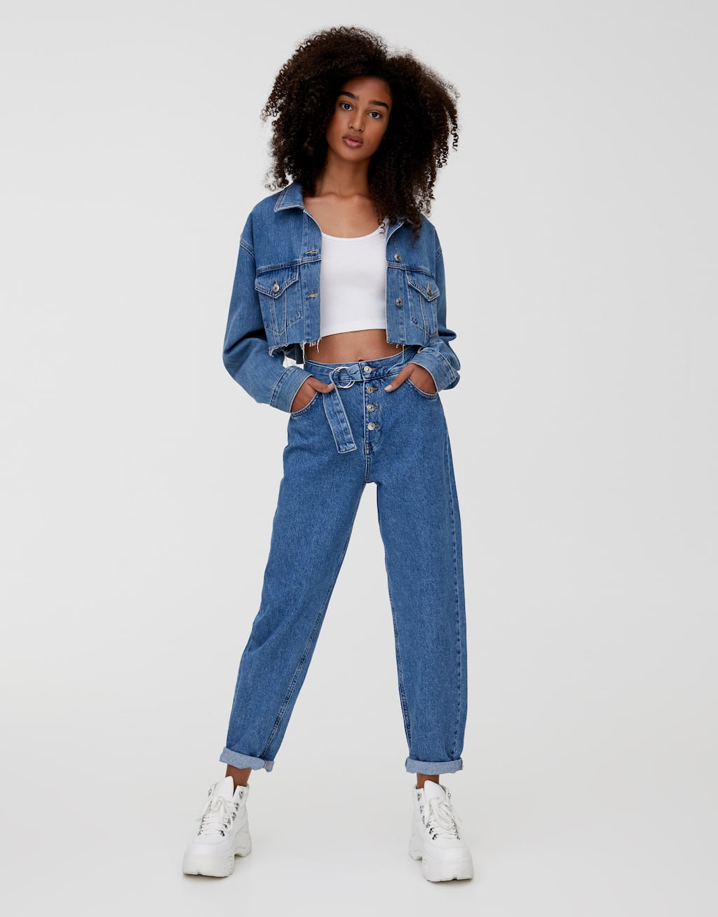 Gaucho Jeans With Belt And Buttons by Pull & Bear