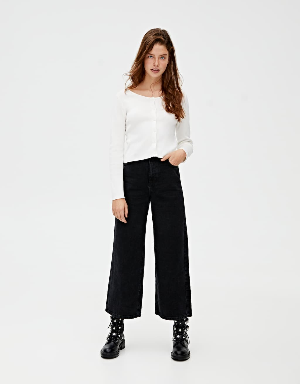 Farbige Basic Culotte Jeans by Pull & Bear