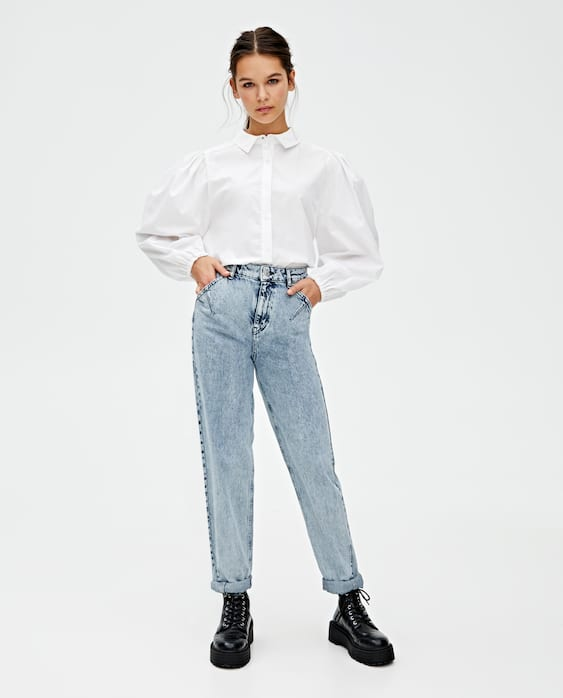 Darted Slouchy Jeans With Rips by Pull & Bear