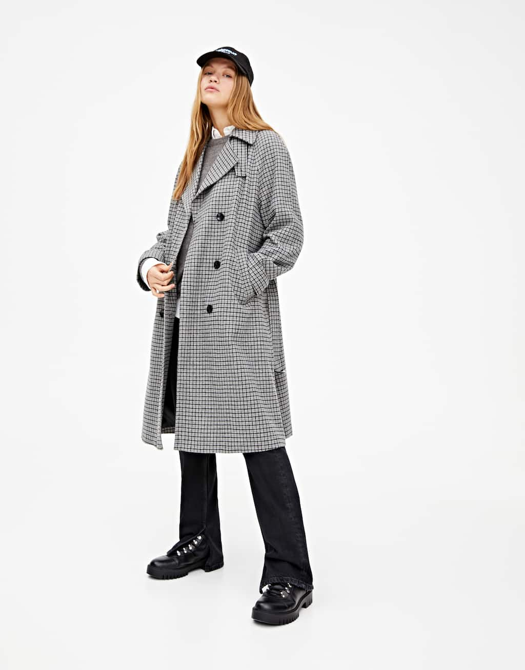 Long Checked Cloth Coat by Pull & Bear