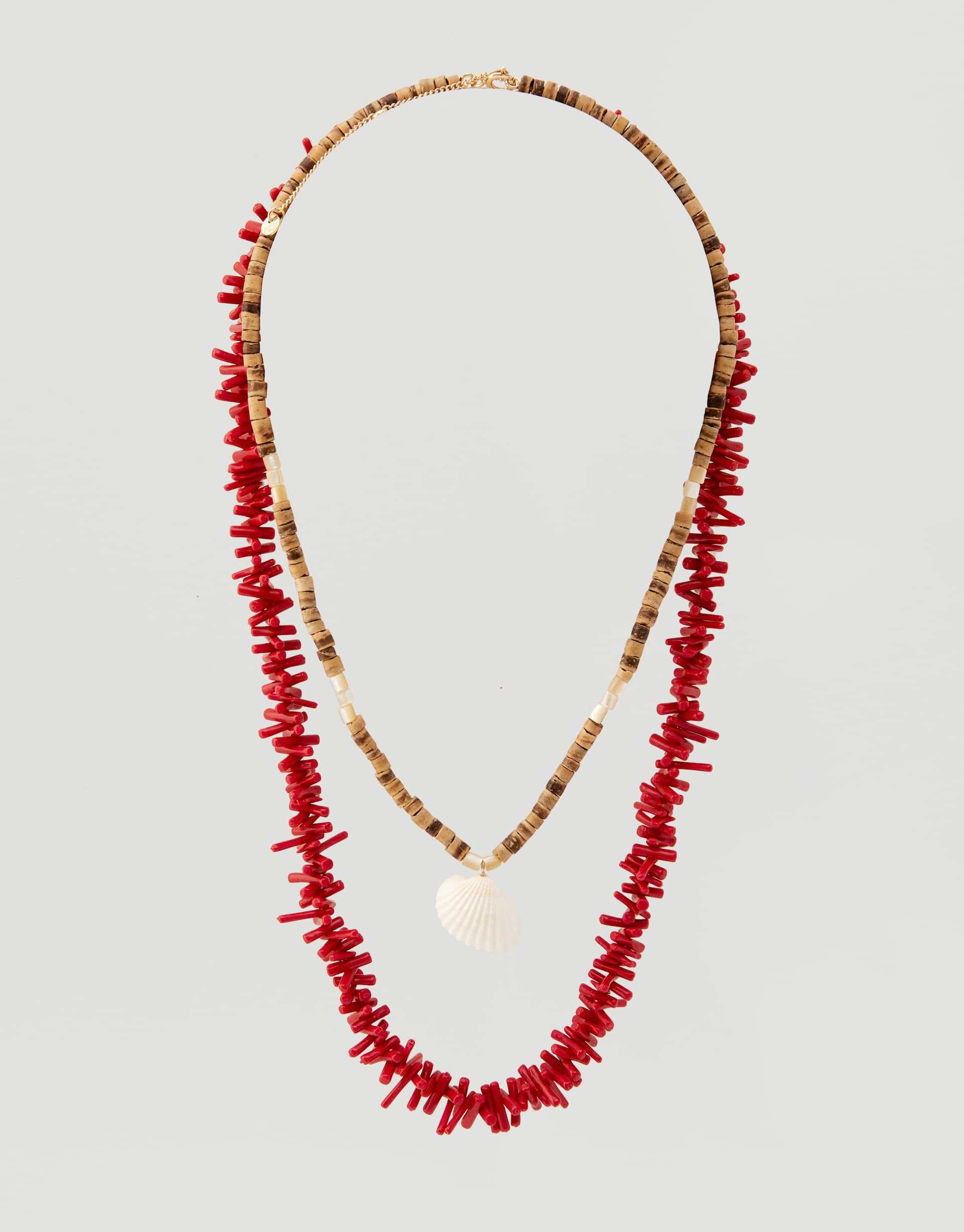 7ce68716b80 2-pack of coral necklaces with seashell