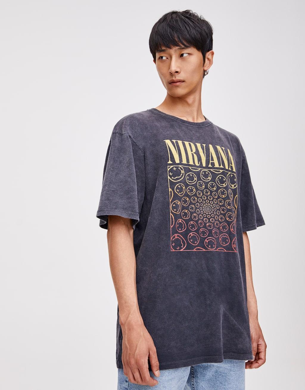 Black Nirvana T Shirt by Pull & Bear