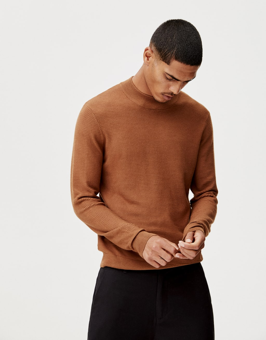 Textured Weave Sweater With A High Neck by Pull & Bear