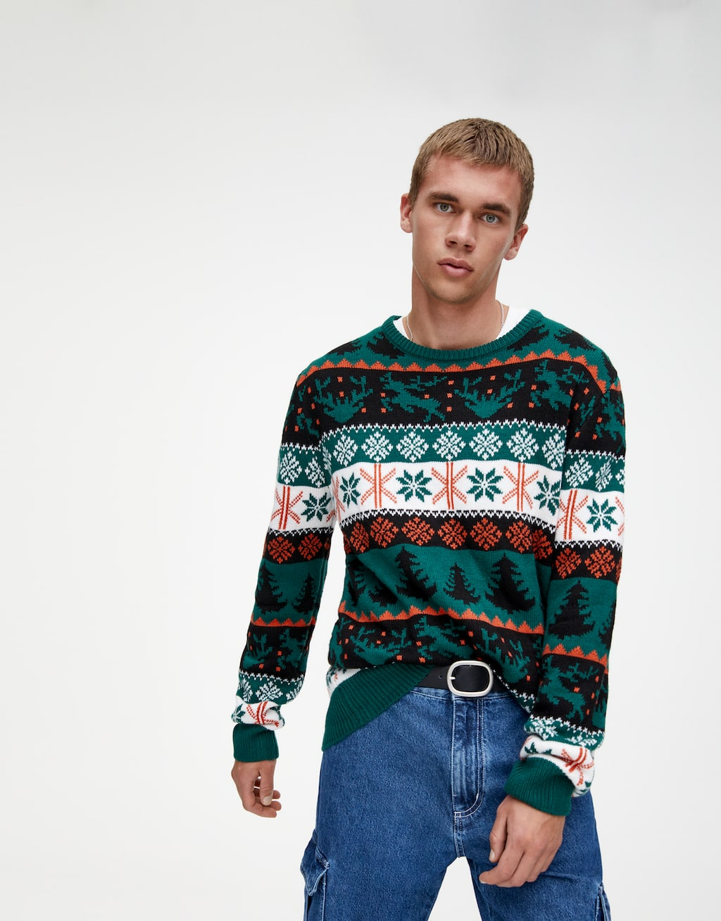 Green Panelled Sweater by Pull & Bear