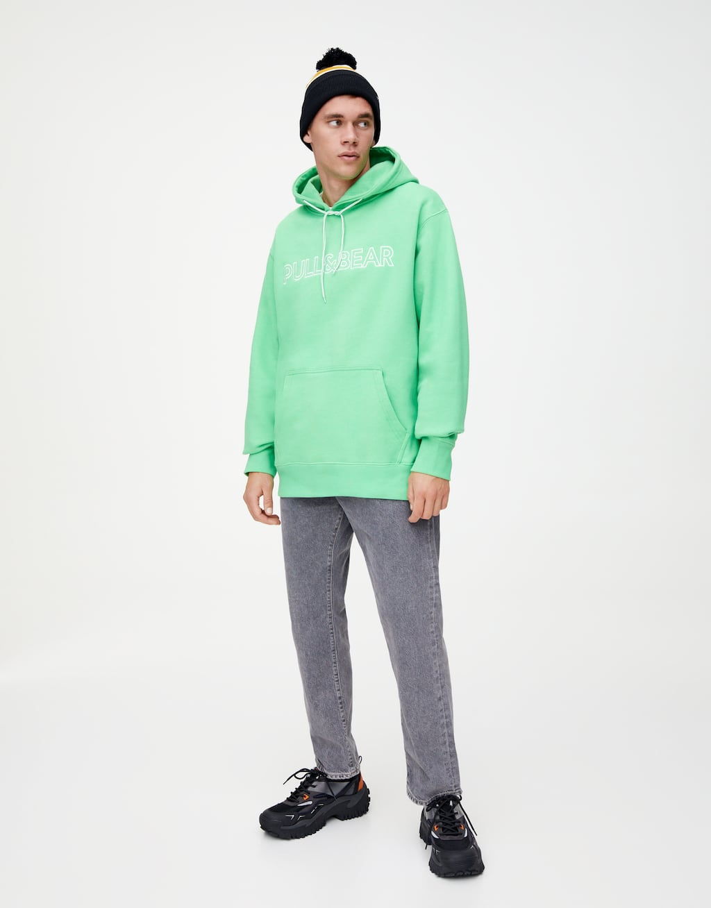 Hoodie With Embroidered Slogan by Pull & Bear