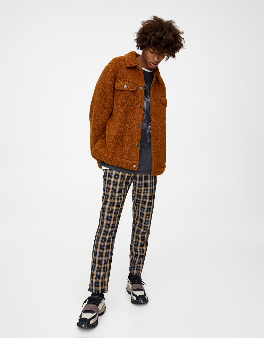 Brown Faux Shearling Jacket by Pull & Bear