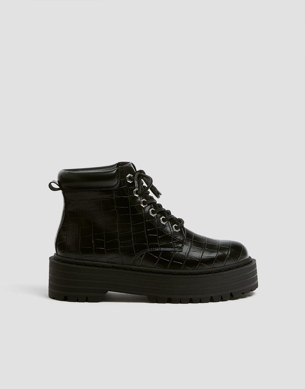Lace Up Mock Croc Ankle Boots by Pull & Bear