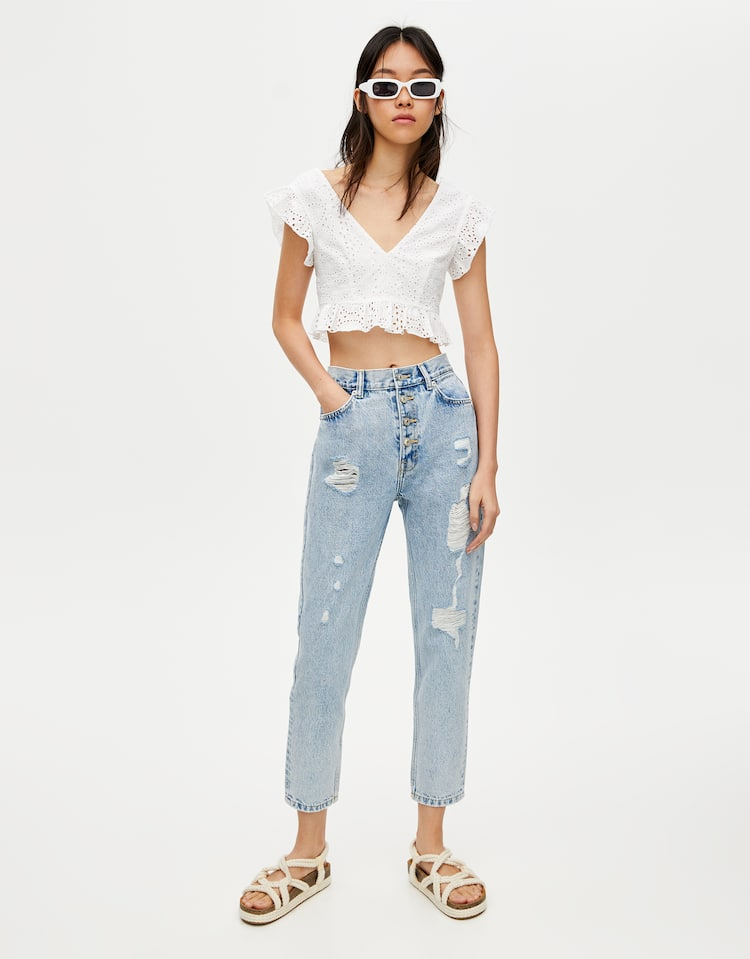 7ff693eb Buttoned mom jeans , PALE BLUE