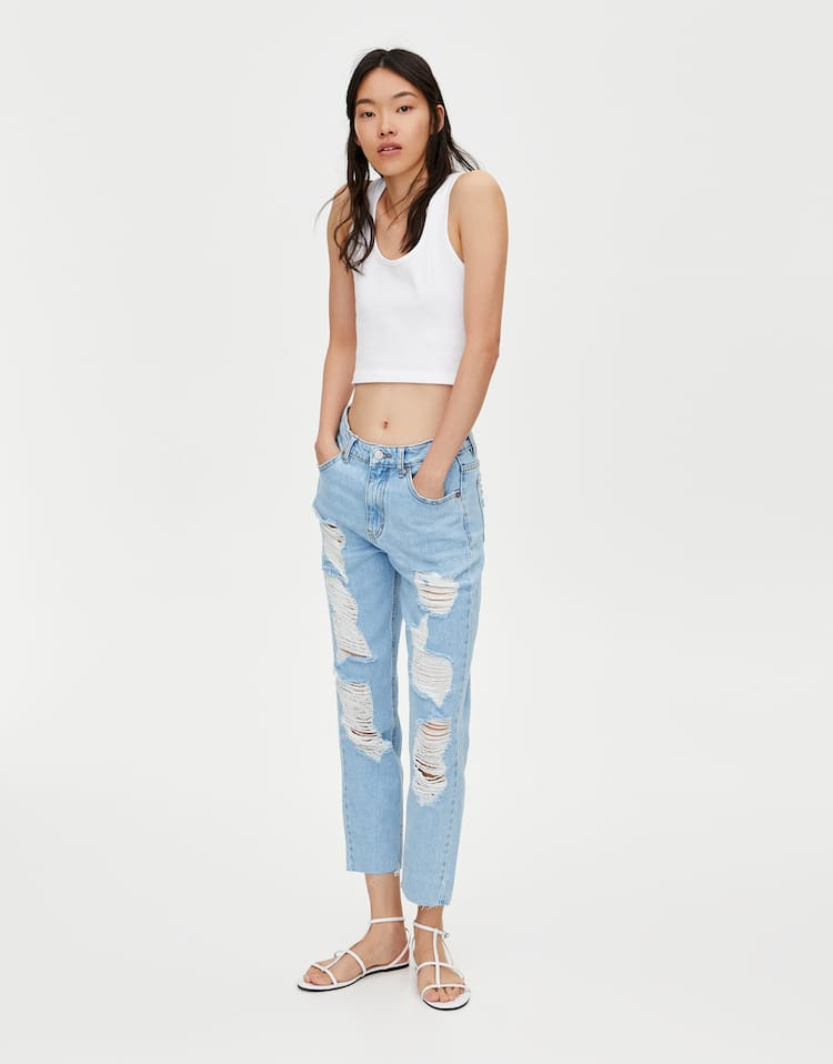 a20322d96e Ripped mom jeans , WATER BLUE