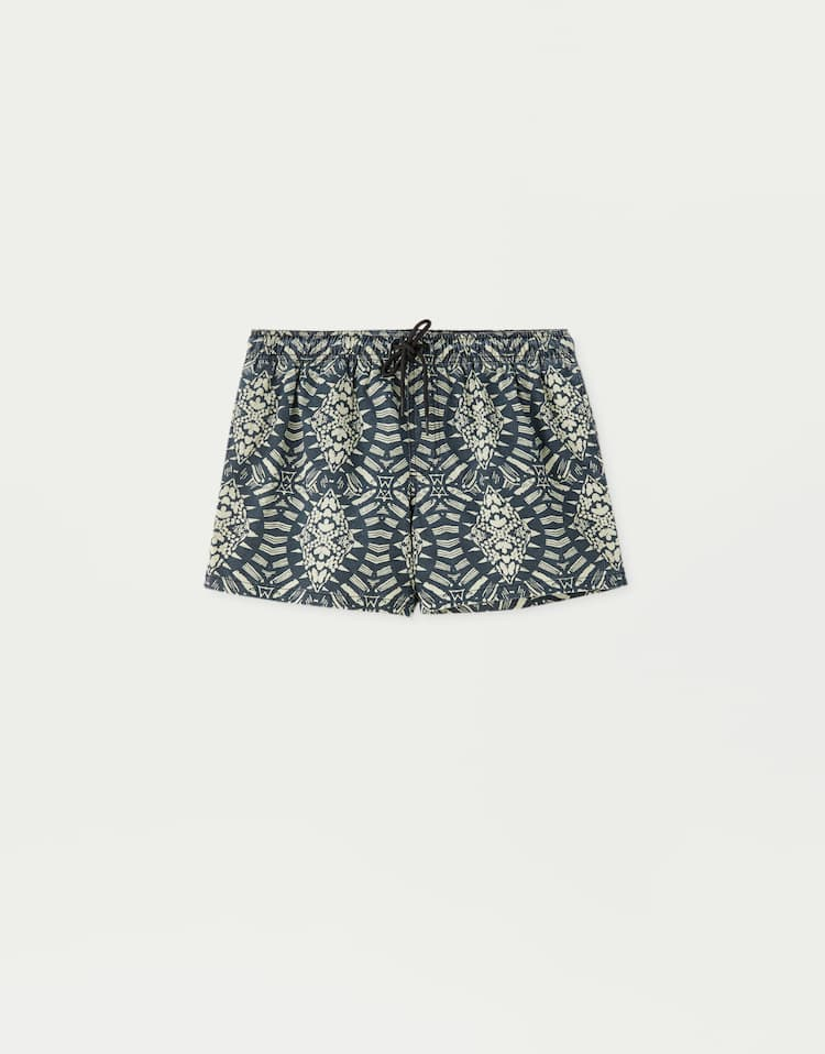 7fd1461a543 BLACK. Swimming trunks with an all-over print , GREY