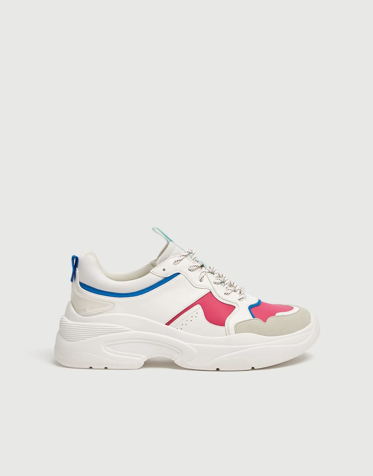 52d02a414d Multicoloured technical chunky sole trainers