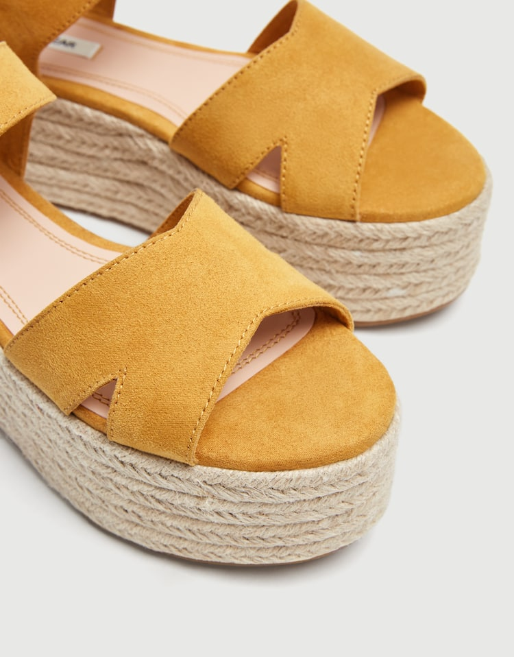 fe3c7e1f1c6 Mustard yellow platform wedges with straps