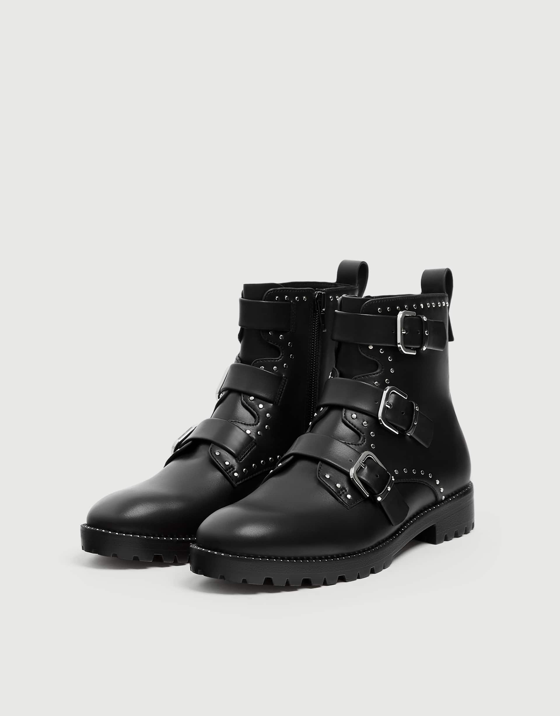bca63c1ca49 Flat ankle boots with studs - pull&bear