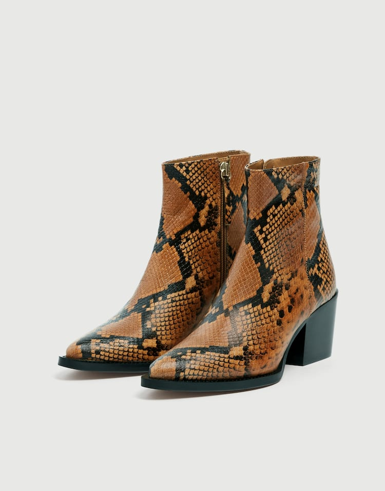 37ac354942 Camel leather snakeskin print cowboy ankle boots , BROWN