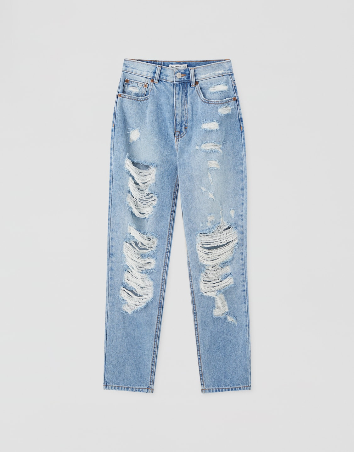 Mom Jeans With Rips On The Legs Pull Bear