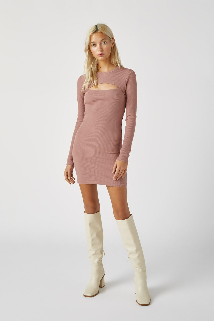 Ribbed mini dress with cut-out neckline