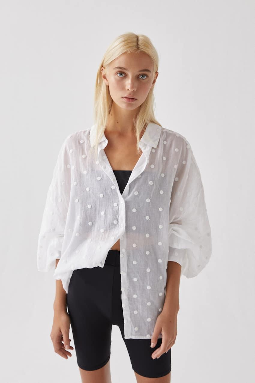 Košulja od mrežaste tkanine s ispupčenim točkama i vezom, WHITE