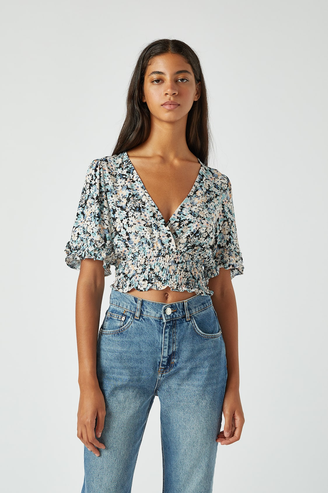 mescolare Catena reclusione  Blue floral blouse with shirring - pull&bear