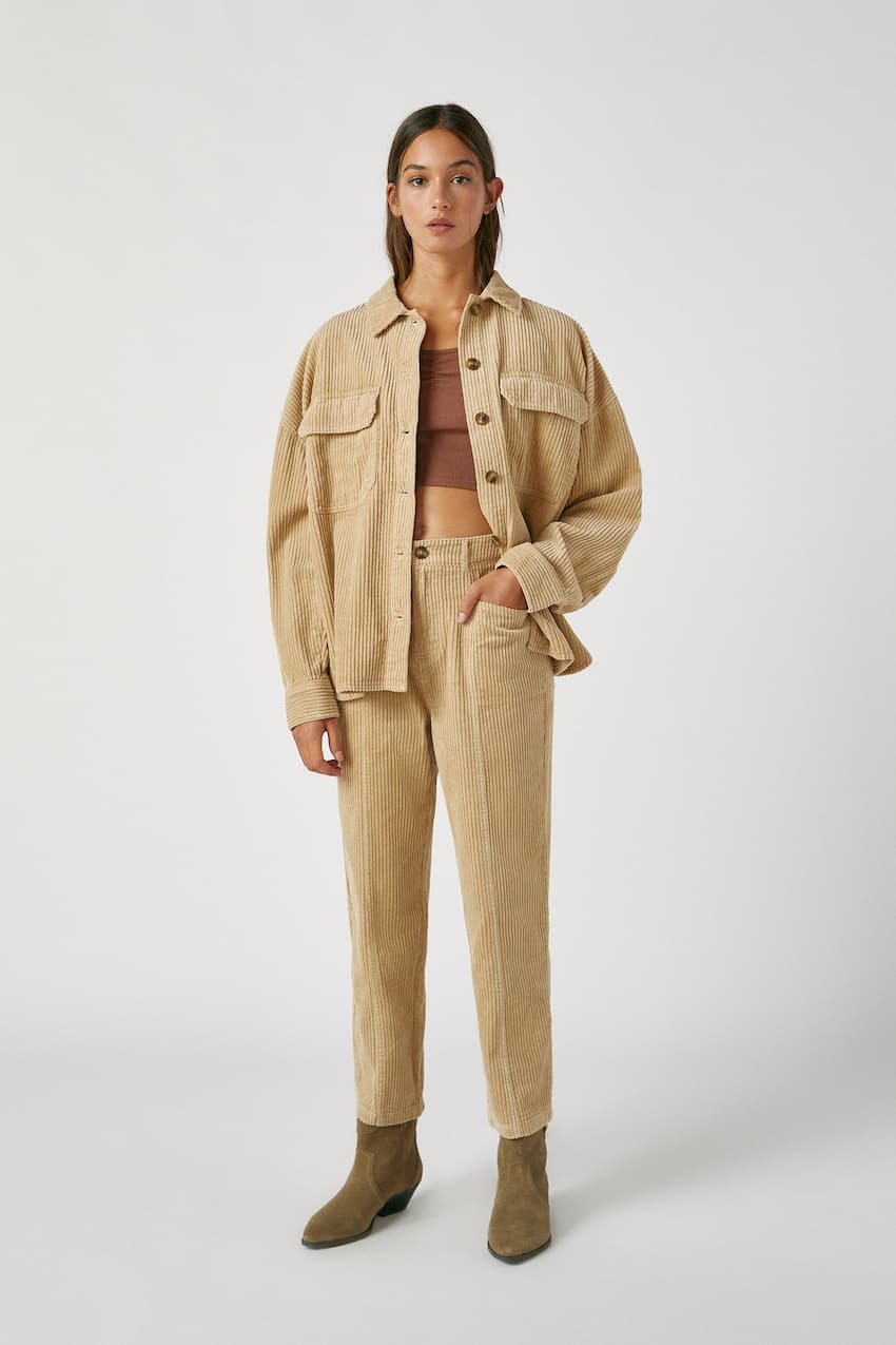 Corduroy trousers with pocket details