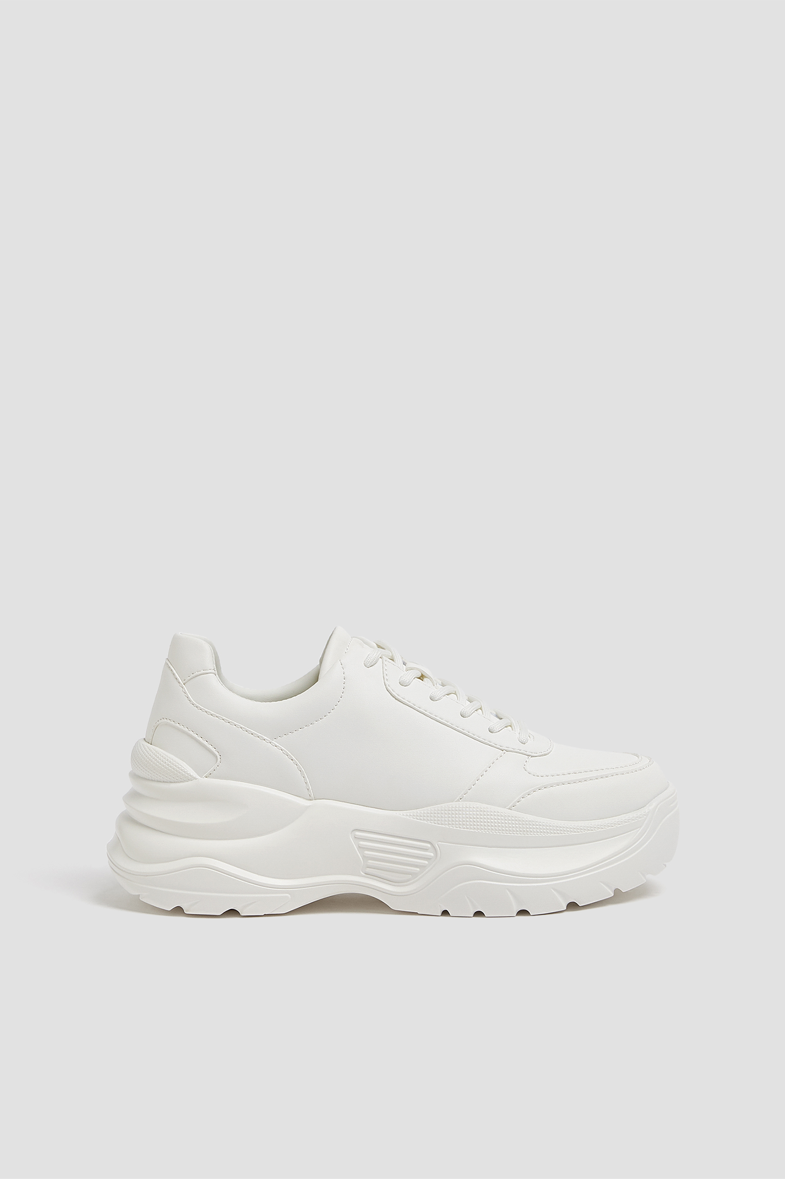 White monochrome chunky-sole trainers