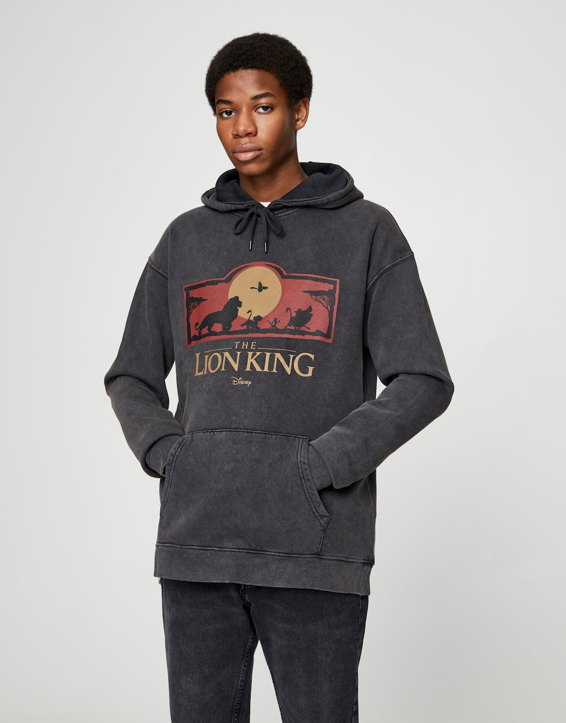 Faded Black The Lion King Hoodie Pull Bear