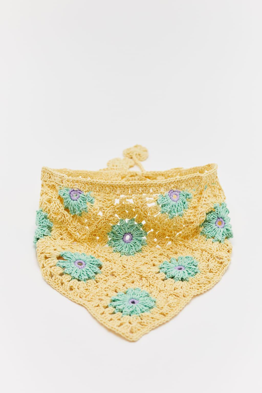 Foulard crochet fleurs, BEURRE