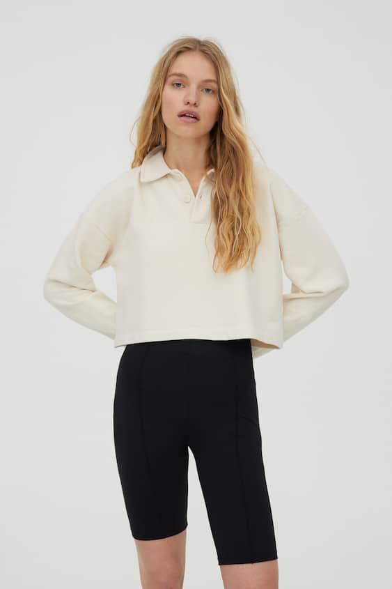 Sweatshirt com colarinho de polo, CRU