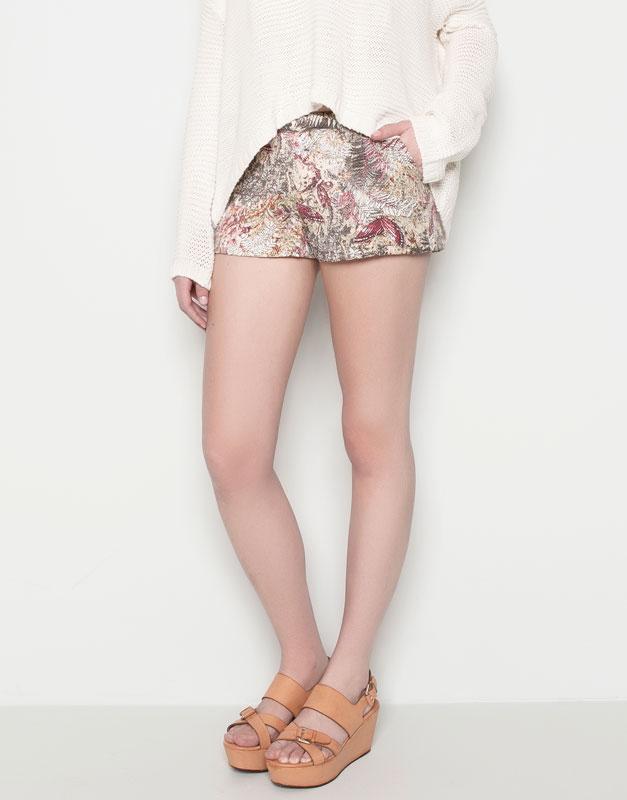Pull&Bear - mujer - pantalones y bermudas - short estampado - kaki - 05696330-V2014