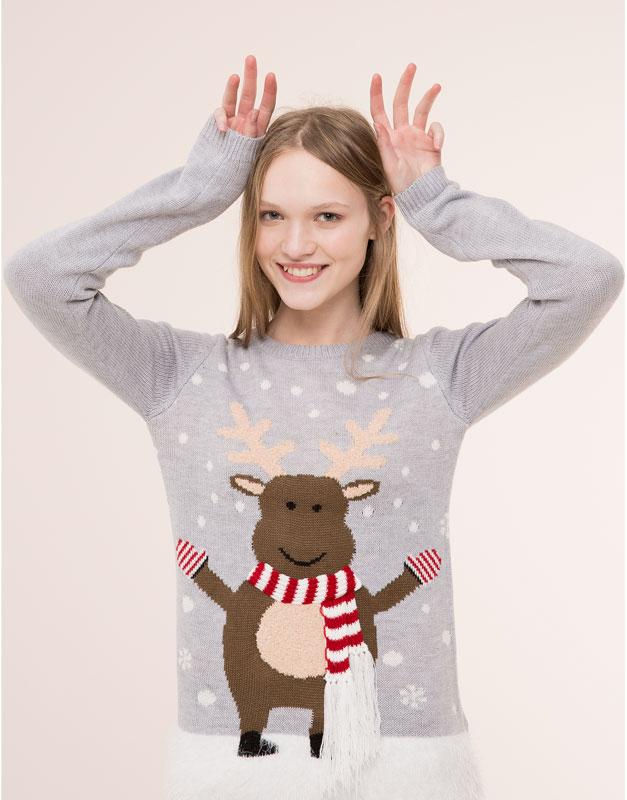 Pull&Bear - jersey navidad reno - gris - 09559349-I2015
