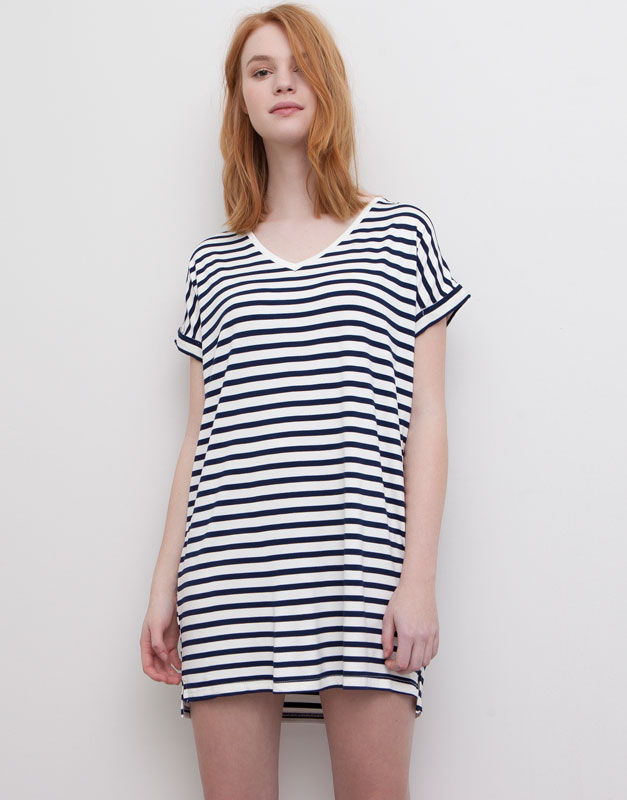 Pull&Bear - woman - dresses - basic short sleeve striped dress - ice - 05392326-V2015