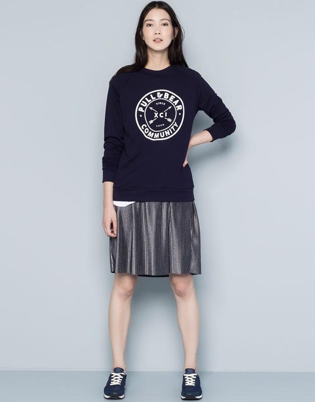Pull&Bear - mulher - sweatshirts - sweatshirt logótipo - azul escuro - 05590343-V2015
