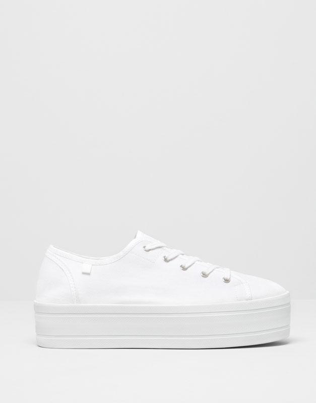 Pull&Bear - mulher - sapatos senhora - ténis plataforma - branco - 15780311-V2015