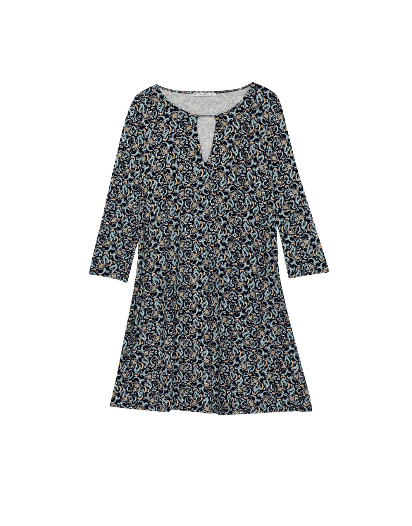 Wzorzysta sukienka z rękawem 3/4 Pull & Bear MORSKI