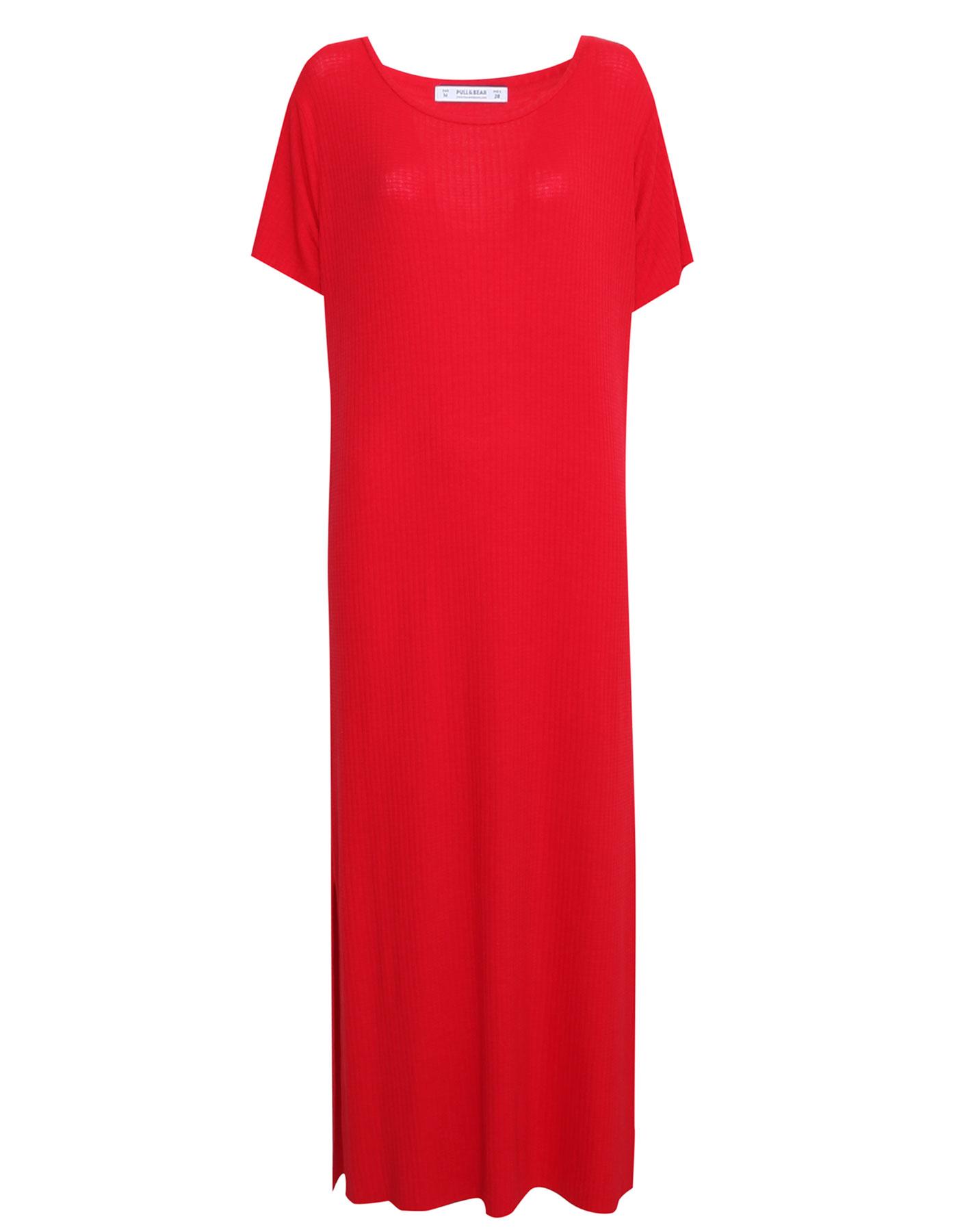 Gładka sukienka z krótkim rękawem Pull & Bear CZERWONY