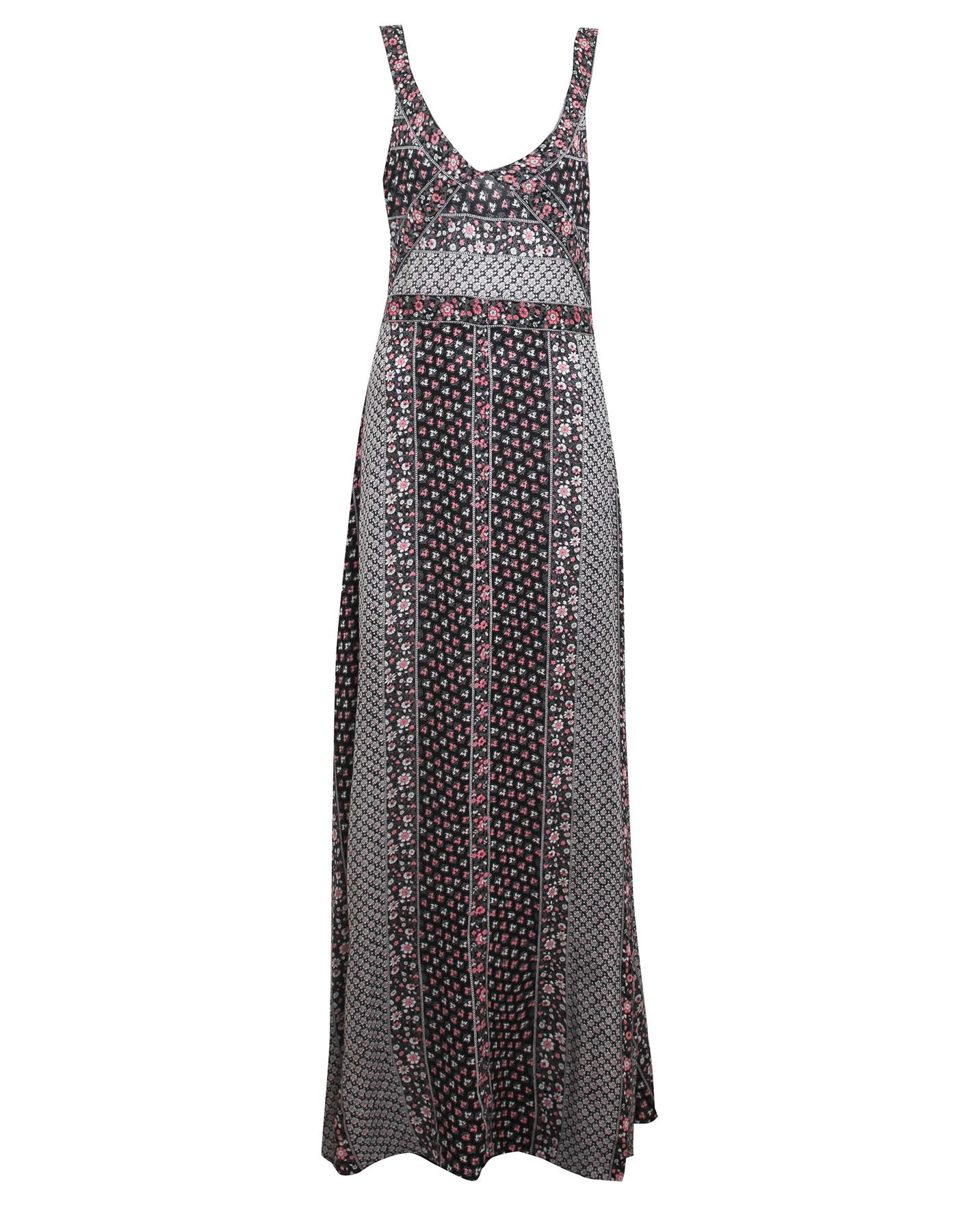 Długa wzorzysta sukienka Pull & Bear CZARNY