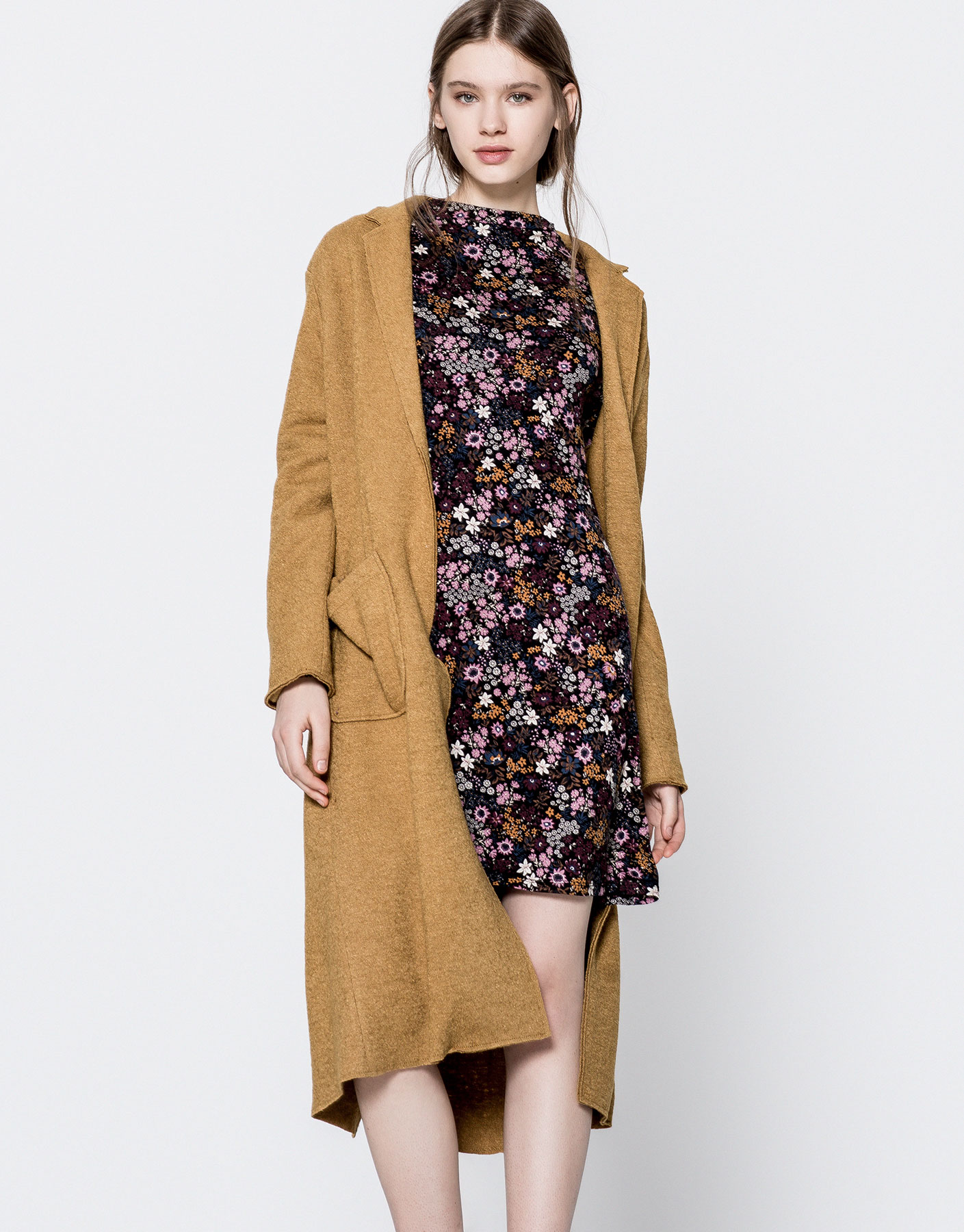 Floral print funnel collar dress