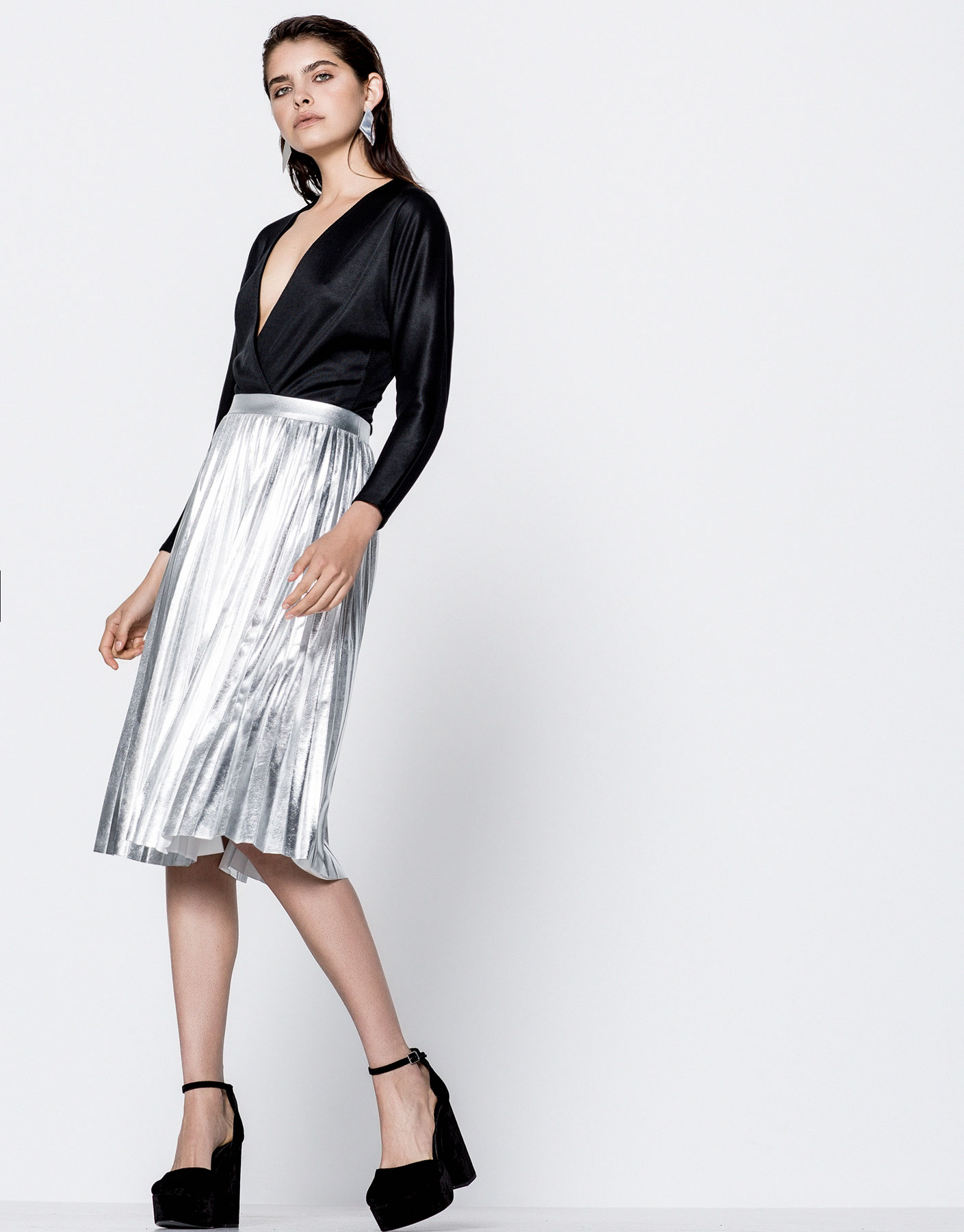 Finely pleated metallic midi skirt