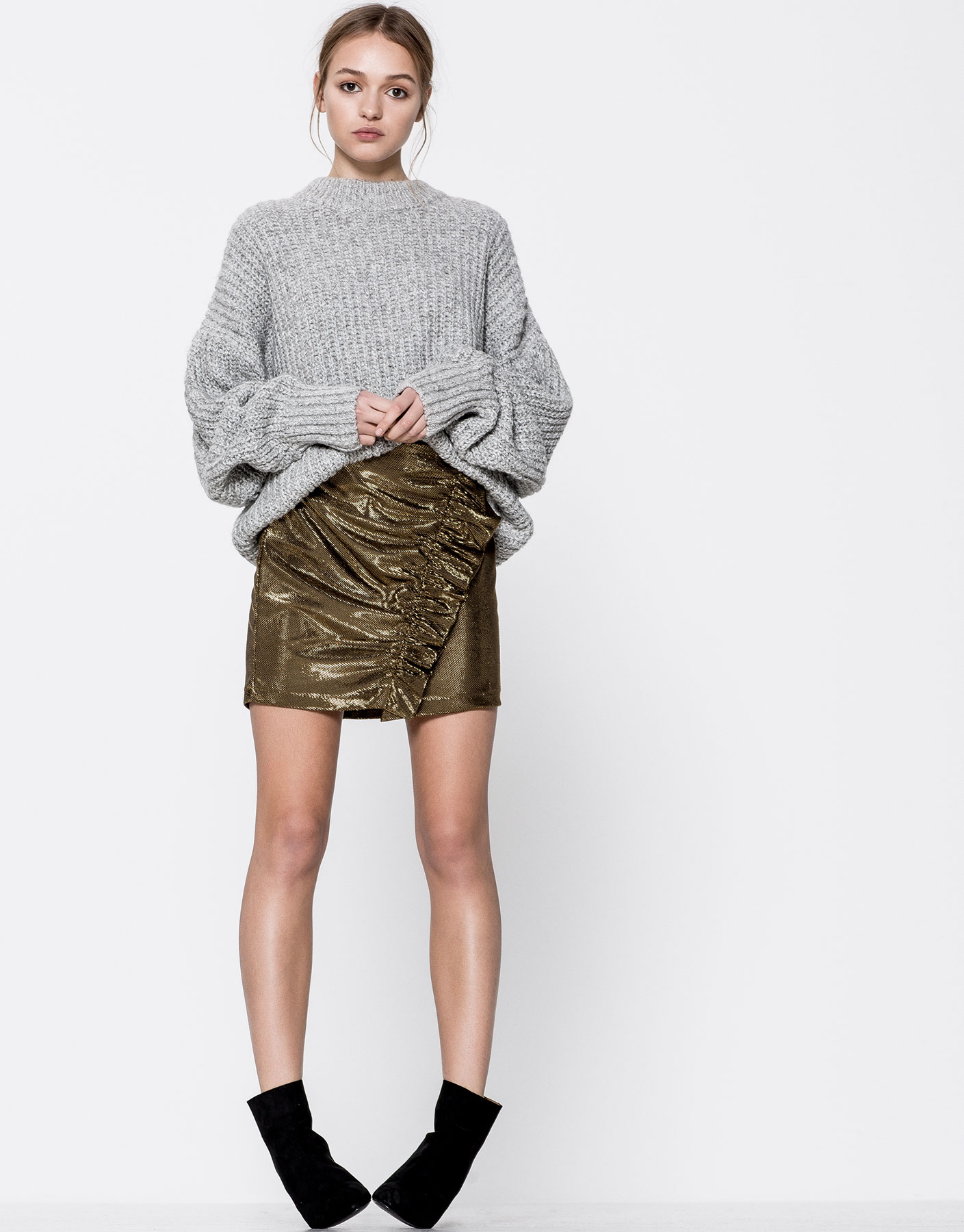 Gathered frill metallic mini skirt