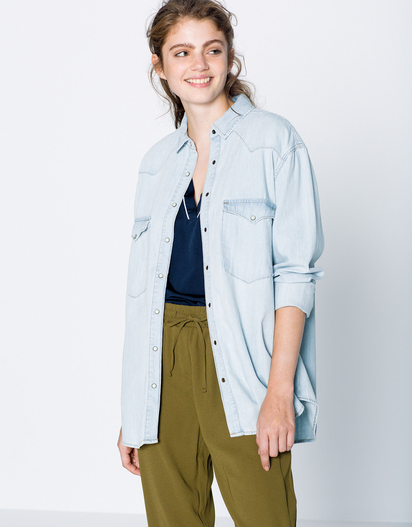 Western denim shirt with patches